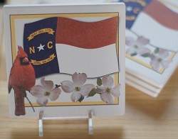 NC Cardinal & Flag Coaster Set of 4