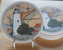 Ocracoke on Map Coaster Set of 4