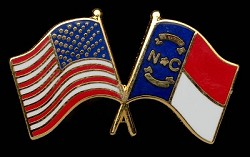 NC and American Flags Pin