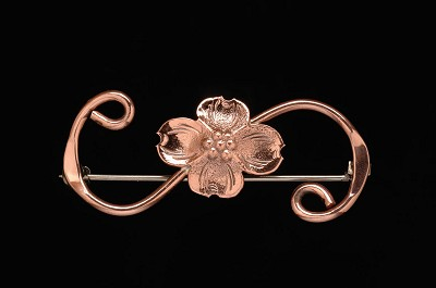 Small Capitol Copper Dogwood Scroll Pin,CC1S