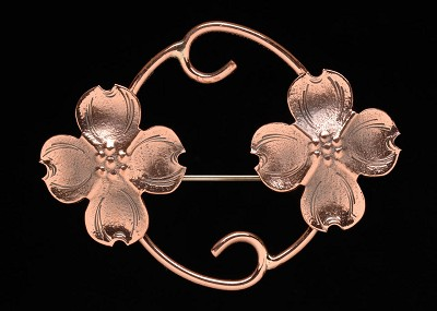 Copper Dogwood Inside Scroll Pin,CC98