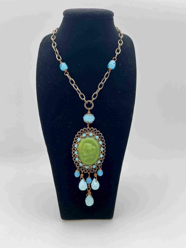 Green Vintage Glass Cameo Necklace