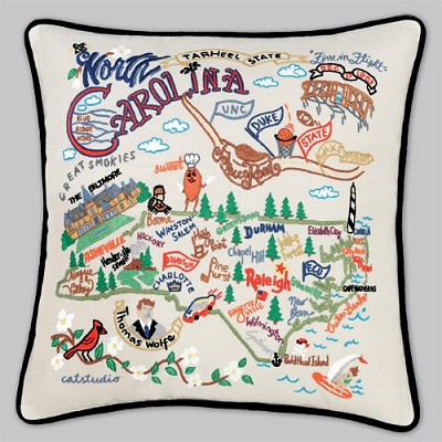 North Carolina Embroidered Pillow,043