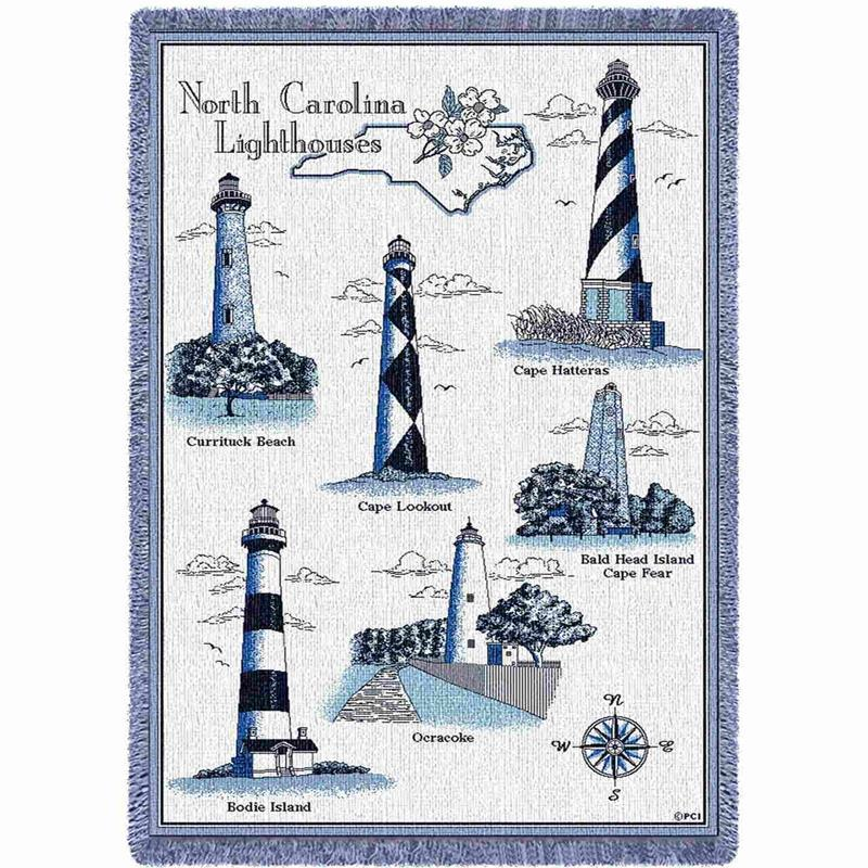 Natural/Blue Lighthouses of NC Throw,240-A