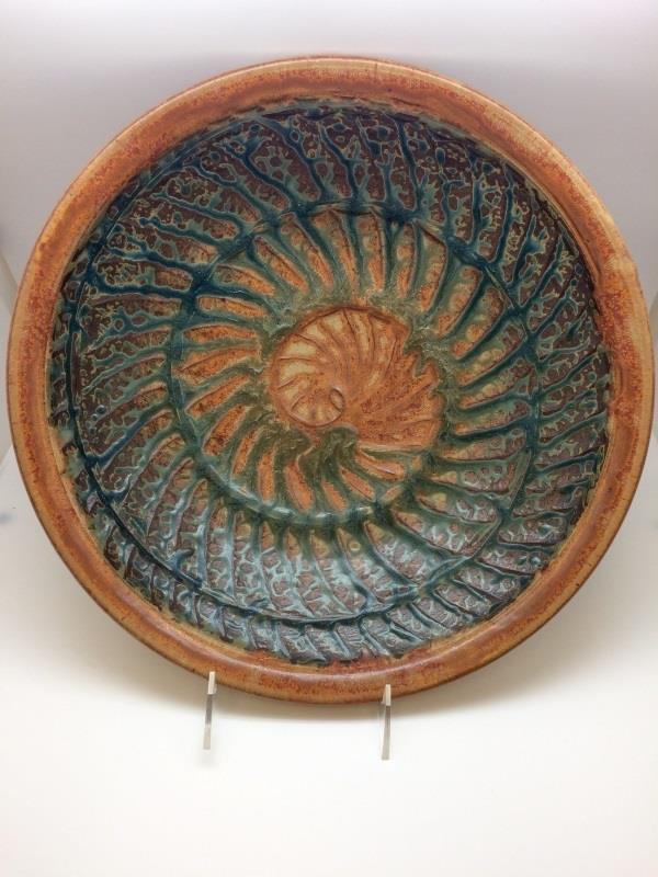 """13"""" Shaner Gold & Blue Ash Nautilus Bowl"""