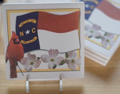NC Cardinal & Flag Coaster Set of 4,SQ221