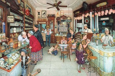 The Soda Fountain & Brantley Pharmacy 1000 pc. Puzzle,44274