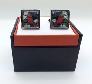 Cardinal Dogwood Art Cufflinks