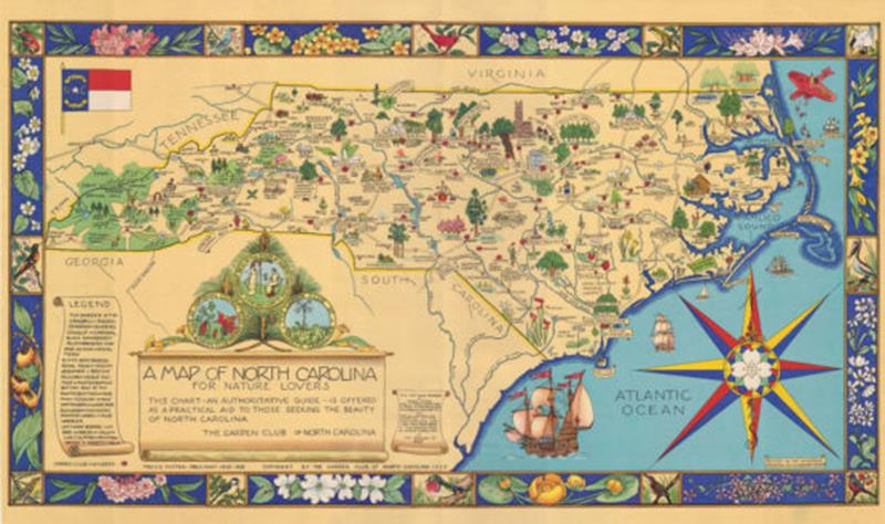 1937 Map of NC for Nature Lovers Puzzle,60202