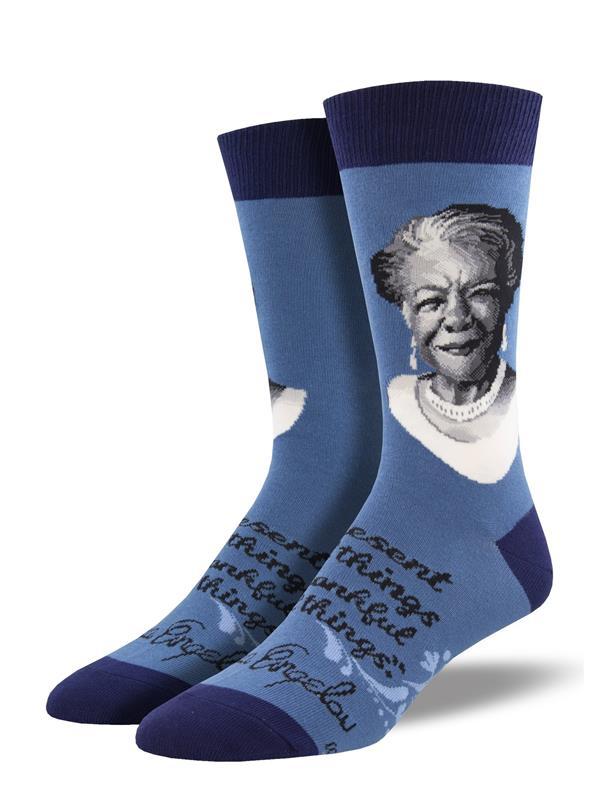 Maya Angelou Portrait Purple/size 9 - 11 Socks,WNC2033