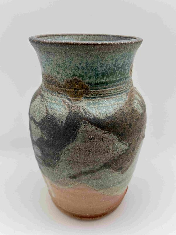 Jim's Scallop Salt/Soda Fire Copper-Green Petina Glaze Vase