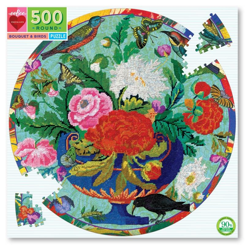 Bouquet & Birds 500 Piece Round Puzzle,PZFBQB