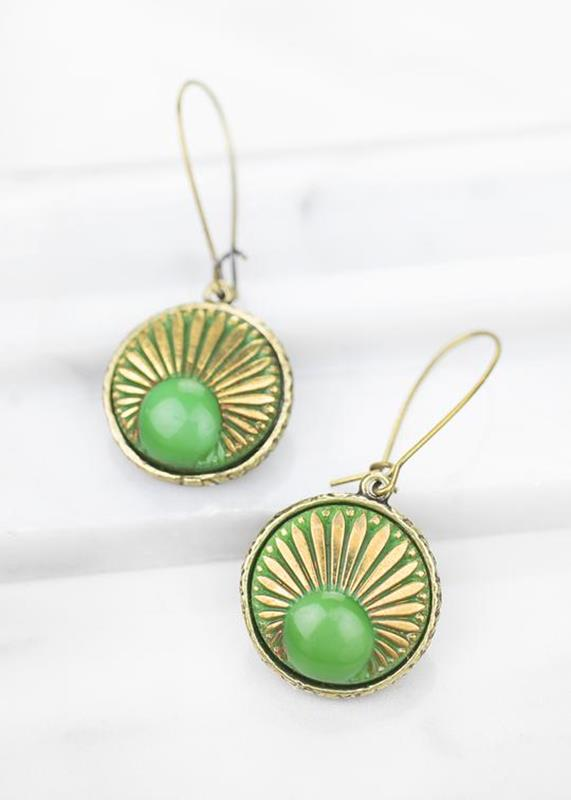 Aurora/Emerald Glass Button Earrings,01-K899B