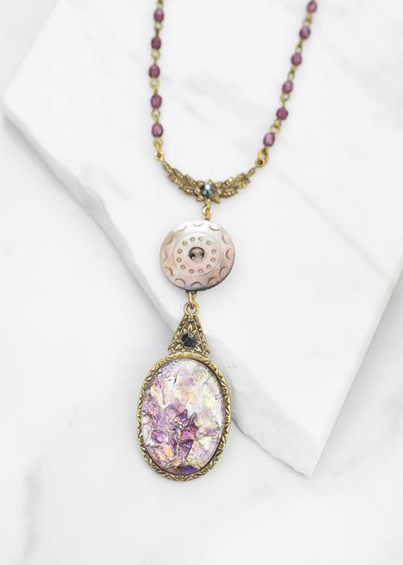 Ocean Pearl Button W/Amethyst Glass Cabochon Necklace,01-N905B