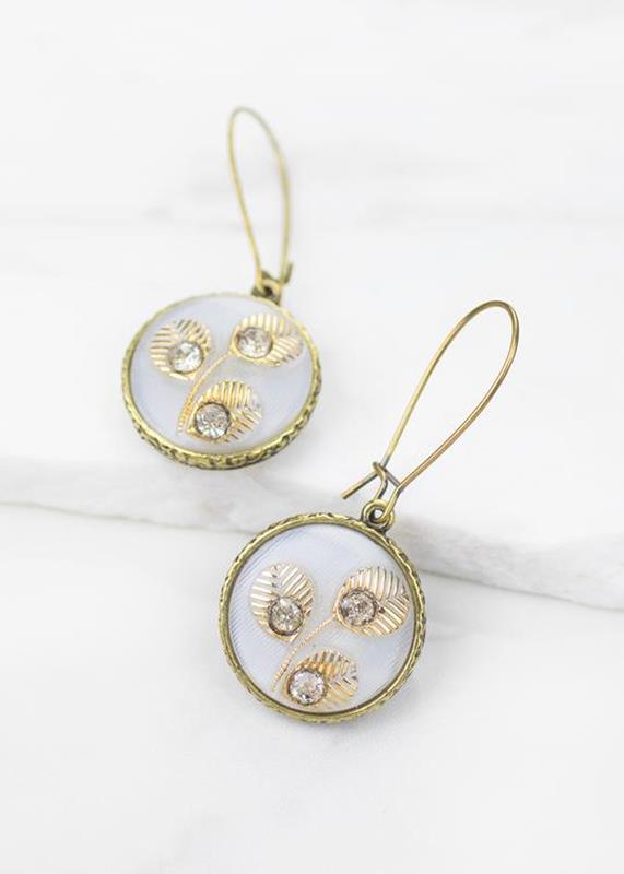 Moon Glow Button Earrings/Velma,01-K887B