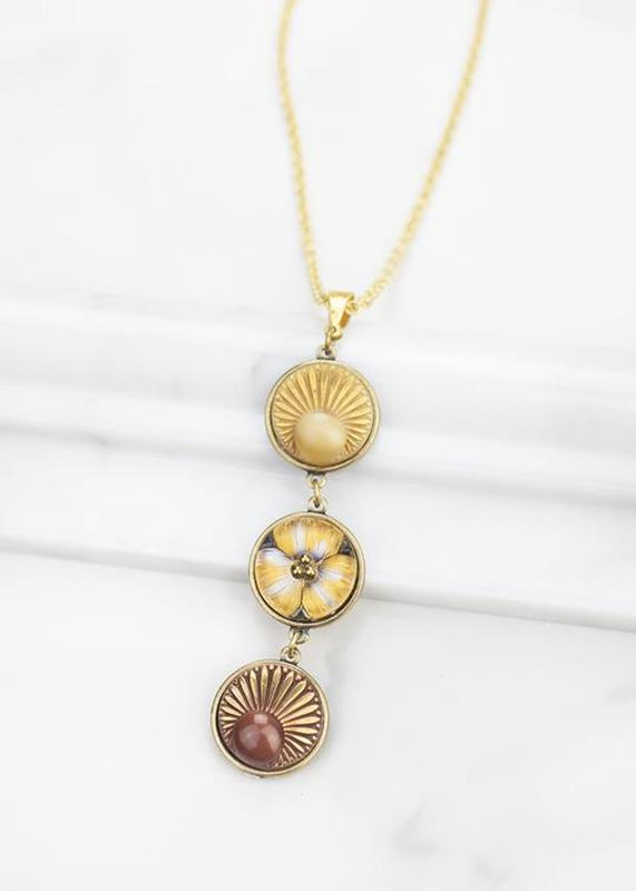 Vintage Glass Buttons W/Sunbursts Necklace/Aurora,01-N910B