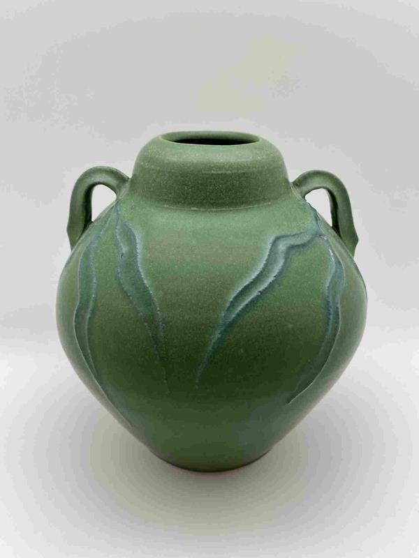 Green Two Handled Porcelain Vase